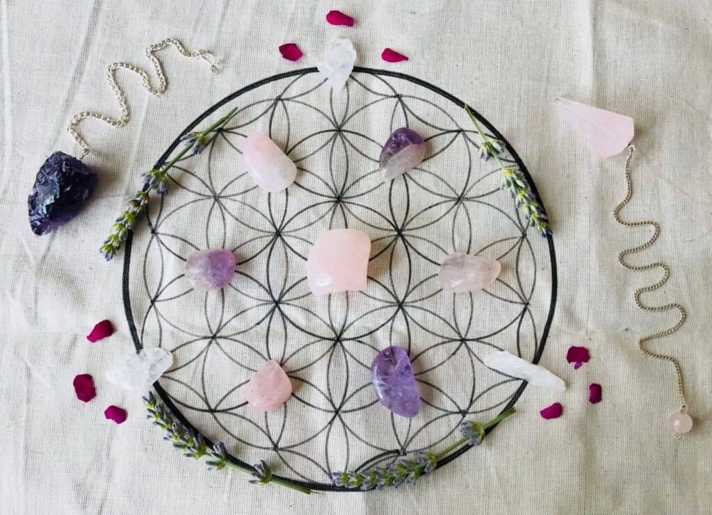 *Hand drawn crystal grid with assortment of crystals at surrendertohappiness.com