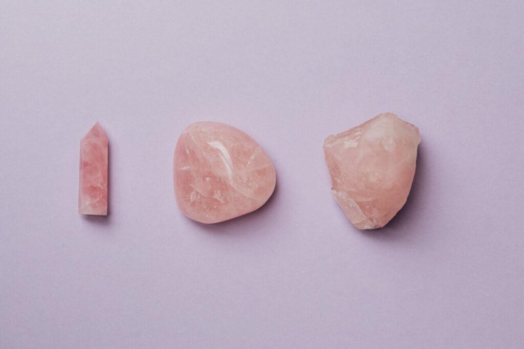 rose quartz crystals