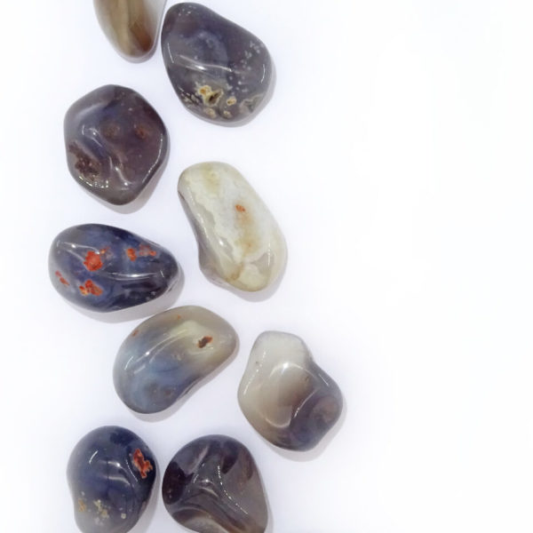 Grey agate tumblestone at surrender to happiness