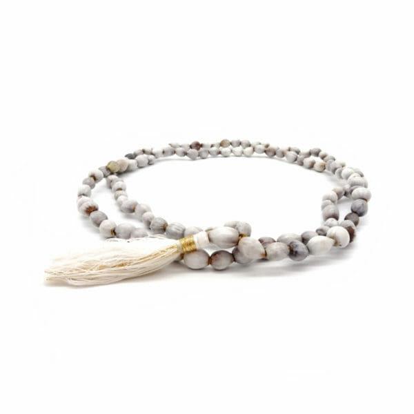 Lotus seed mala necklace