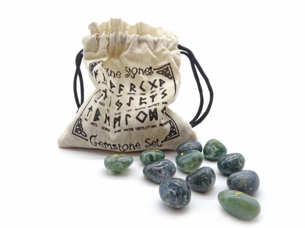 moss agate runestones